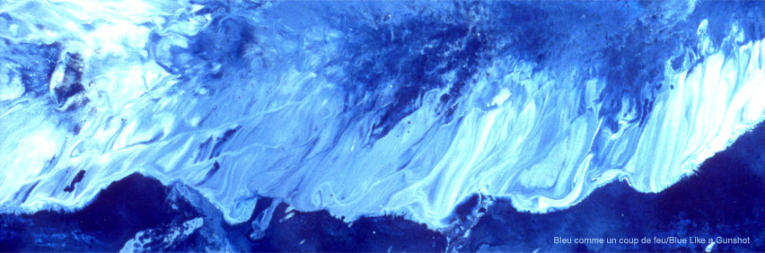 Shades of blue. Photo taken from Blue Like a Gunshot, a paint-on-glass animated film made by Masoud Raouf in 2003.