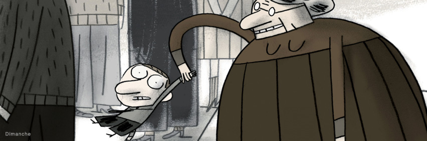A drawing of a young boy with an old woman holding onto his arm. Image taken from Sunday, an animated short film directed by Patrick Doyon in 2011.