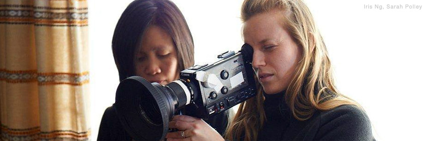 Iris Ng and Sarah Polley (holding the camera) during the making of the film Stories We Tell, directed by Polley in 2012. 